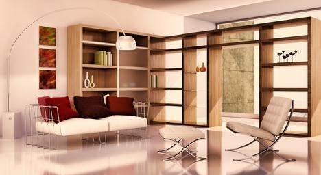 Salon séparé d'une autre pièce par des étagères