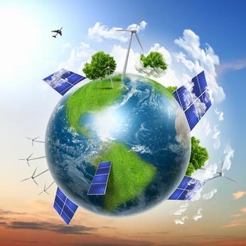 Planète sur laquelle se trouvent des panneaux solaires et des éoliennes