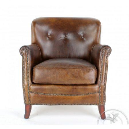 fauteuil club cuir marron vintage.