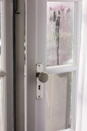 Excès d'humidité sur une porte en bois.