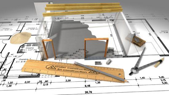 Plan de construction d'une maison.