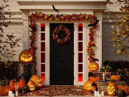 Entrée avec décorations d'Halloween.