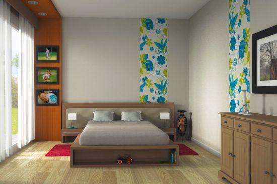 chambre avec bandes de papier peint